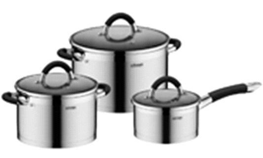Набор посуды со стеклянными крышками, 6 пр., NADOBA, серия OLINA  *2 купить оптом и в розницу