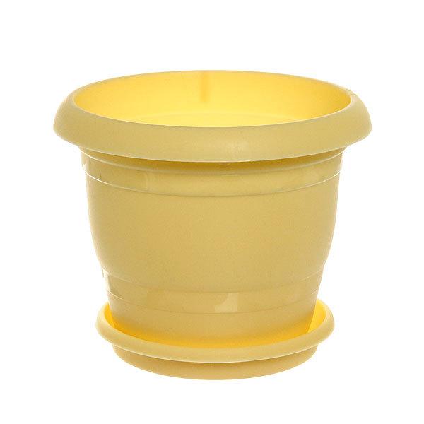 Кашпо для цветов ТОПРАК 1,8л с поддоном желтое *40 (Ангора) купить оптом и в розницу