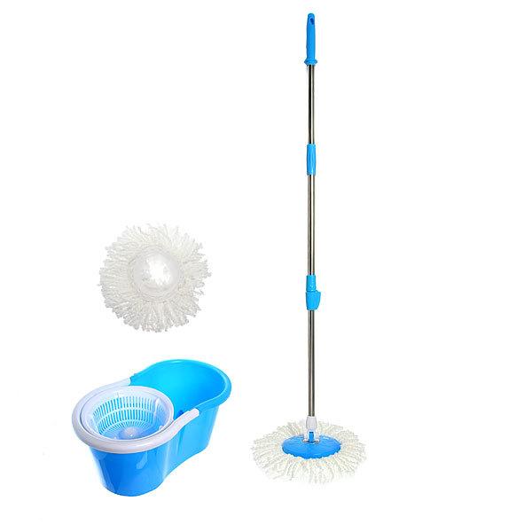 Набор для мылья полов (ведро с отжимом, швабра, две насадки) голубой купить оптом и в розницу