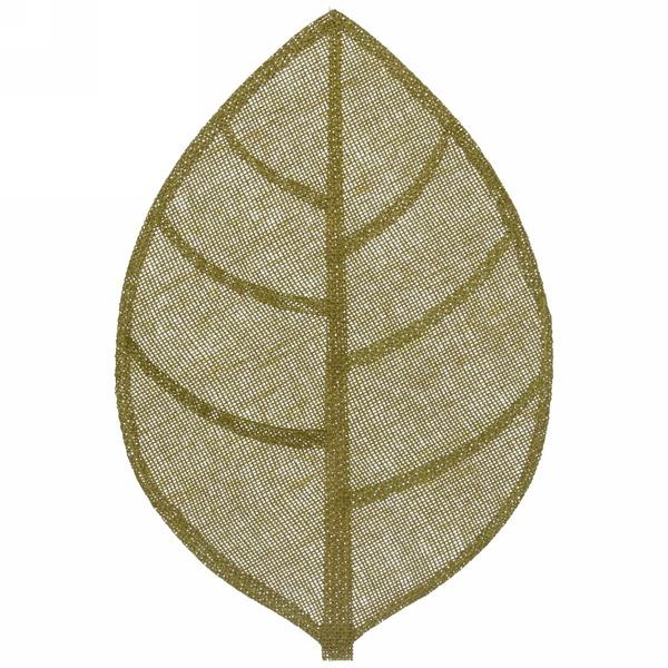 Салфетка на стол 30*45см плетеная, Листик зеленая купить оптом и в розницу