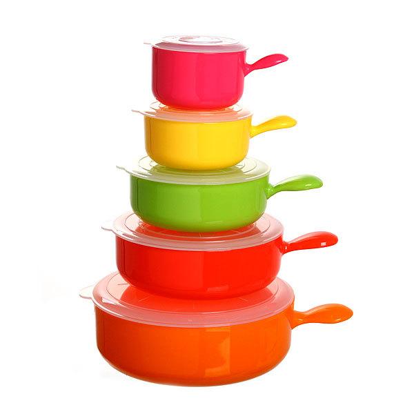 Набор контейнеров 5 шт с ручкой (0,2л,0,3л,0,5л,0,7л,1,2л) ХТ-001 купить оптом и в розницу