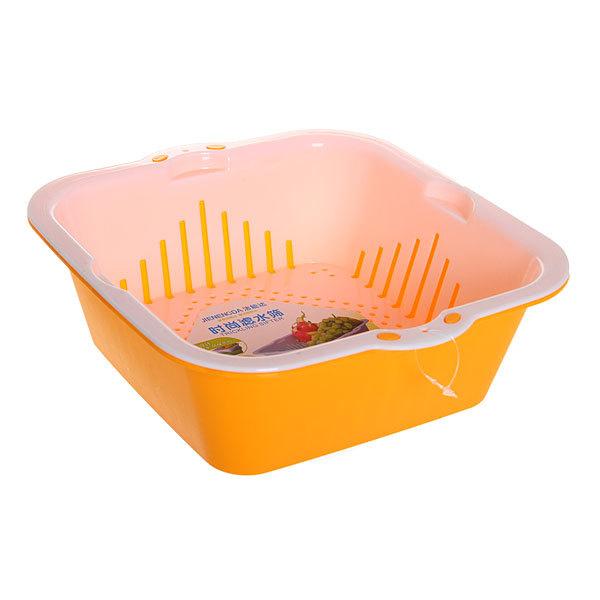 Дуршлаг пластиковый для овощей с поддоном 24,5*8 см полоски купить оптом и в розницу