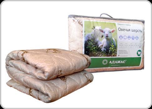 Одеяло 140х205 овеч. шерсть, п/э Адамас купить оптом и в розницу
