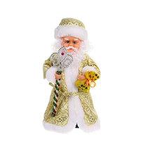 Дед Мороз музыкальный 30см с посохом в золотой шубе купить оптом и в розницу