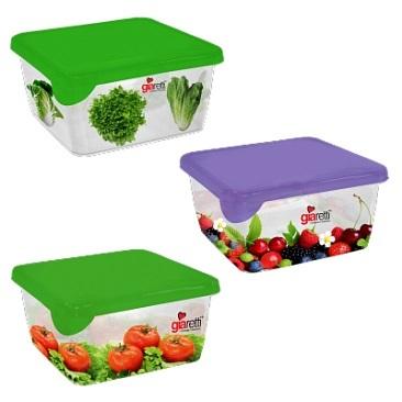 Емкость для продуктов Браво с декором квадратная 0,45 л микс*60 купить оптом и в розницу