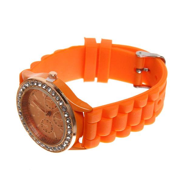 Часы наручные на силиконовом ремешке со стразами Женева, цвет оранжевый купить оптом и в розницу
