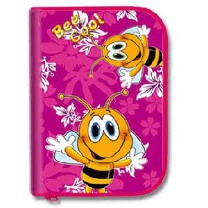 Пенал 1отдел.пуст.большой с планкой Пчелка на розовом купить оптом и в розницу
