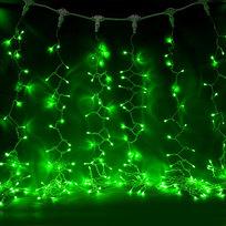 Занавес светодиодный ш 2 * в 3м, 432 ламп LED, ″Дождь″, Зеленый, 8 реж, прозр.пров. купить оптом и в розницу