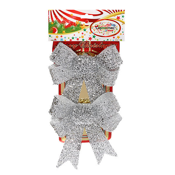 Бант на елку 12*15см (набор 2шт) ″Серебро″ купить оптом и в розницу