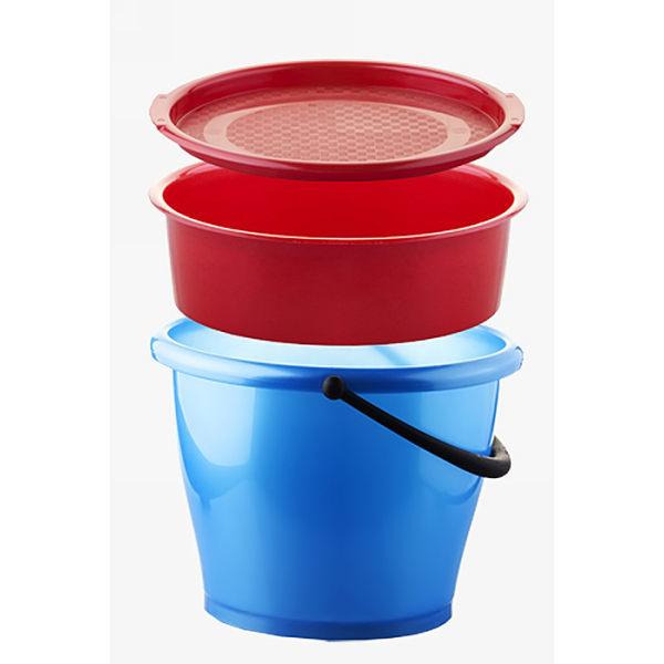Ведро пластиковое овальное 8л ″Два в одном″: ведро овальное 8л, миска овальная 4,0л, 1 герм. крышка для ведра купить оптом и в розницу