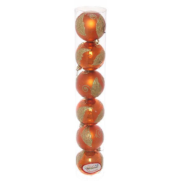 Новогодние шары ″Оранжевый листик″ 8см (набор 6шт.) купить оптом и в розницу