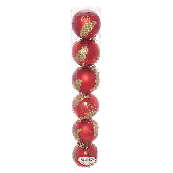 Новогодние шары ″Красный листик″ 8см (набор 6шт.) купить оптом и в розницу