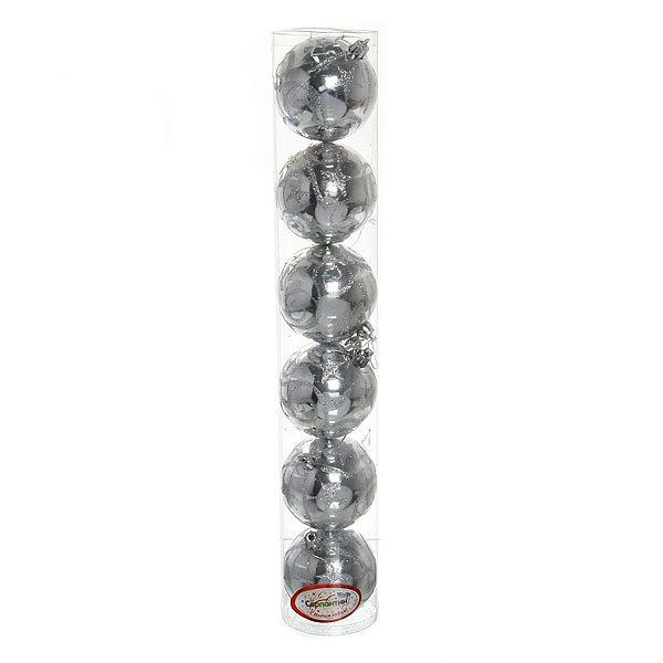 Новогодние шары ″Серебряная звезда″ 8см (набор 6шт.) купить оптом и в розницу