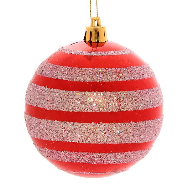 Новогодние шары ″Красно-белый ветерок″ 8см (набор 6шт.) купить оптом и в розницу