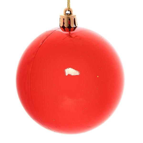 Новогодние шары ″Веточки на красном″ 8см (набор 6шт.) купить оптом и в розницу