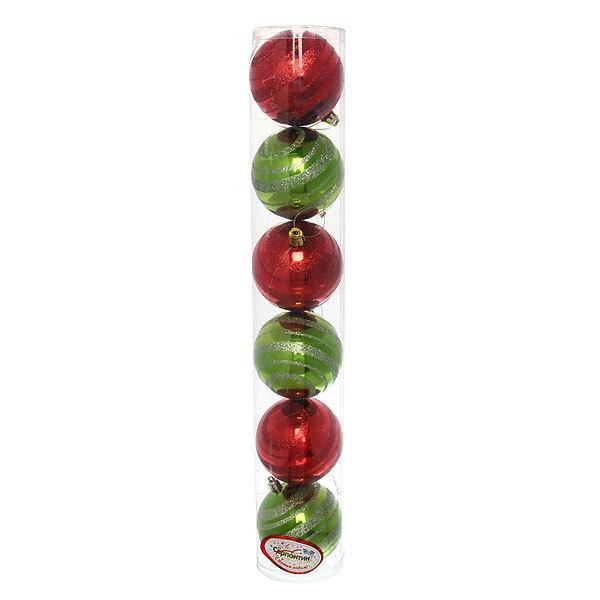 Новогодние шары ″Цирковая полоска″ 8см (набор 6шт.) купить оптом и в розницу
