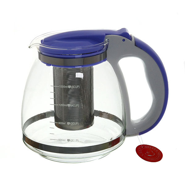 Чайник заварочный стеклянный 1500 мл металлическое сито купить оптом и в розницу