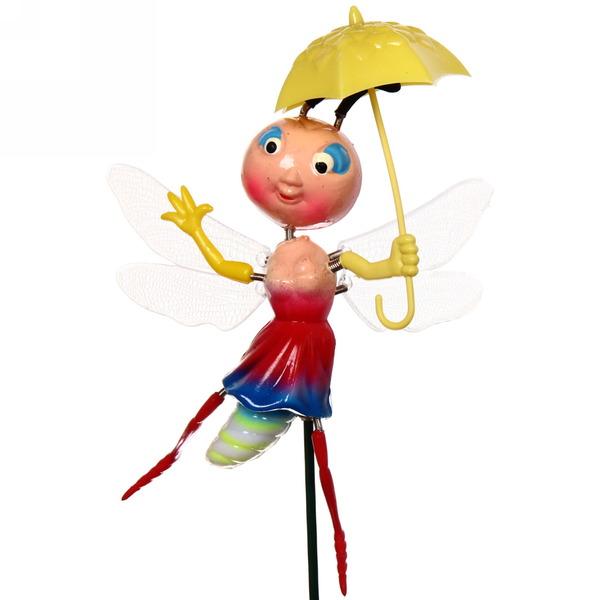 Садовая фигура на спице ″Стрекоза с зонтиком″ купить оптом и в розницу