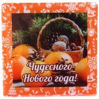Магнит виниловый с заливкой ″Чудесного Нового года!″, Мандариновая корзинка Вкус праздника купить оптом и в розницу
