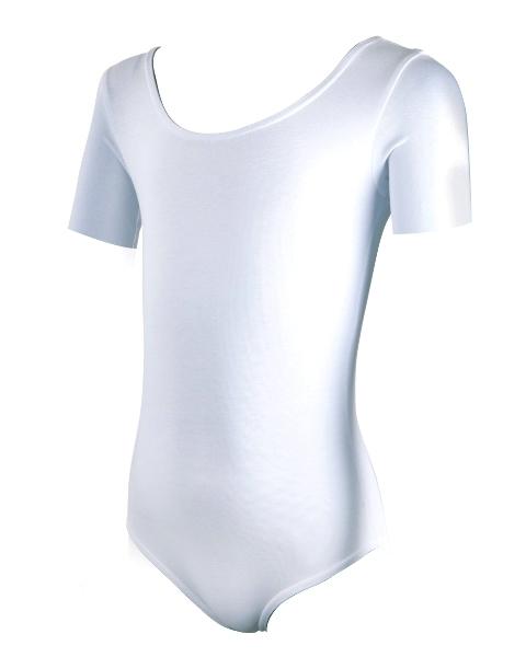 Купальник гимнастический х/б короткий рукав белый р. 36 купить оптом и в розницу