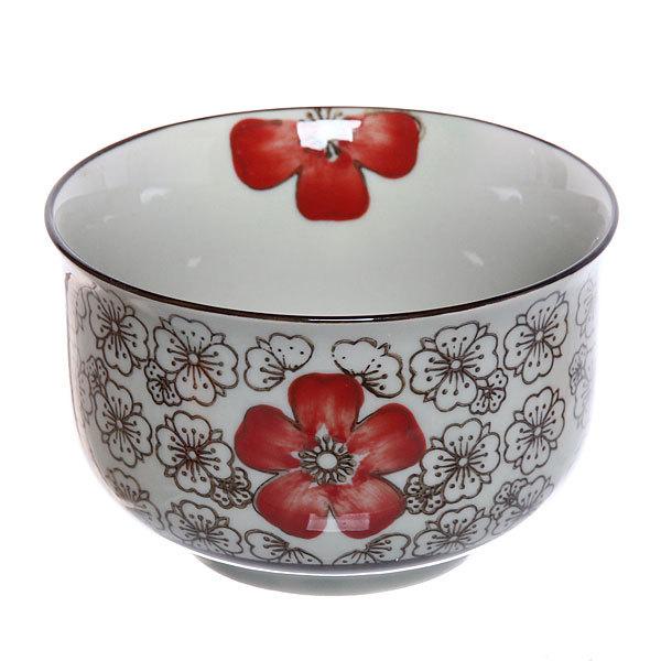 ″Красный цветок″ Салатник керамический 400мл 35430-38 купить оптом и в розницу
