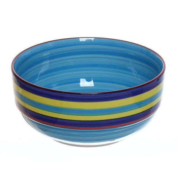 ″Радуга синяя″ Салатник керамический 700мл купить оптом и в розницу