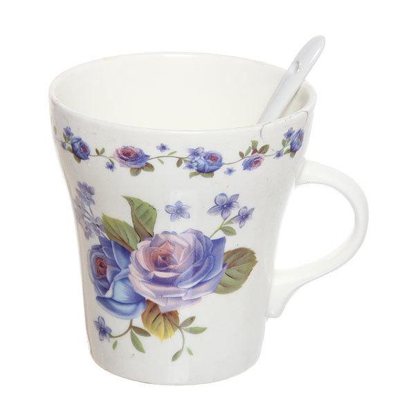 Чайный набор 4 предмета (2кружки 300мл +2ложки) ″Цветок″ купить оптом и в розницу
