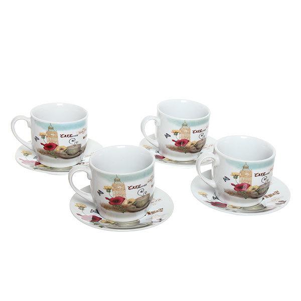 Чайный набор 8 предметов (кружка 200мл +блюдце) ″Кофе″ купить оптом и в розницу