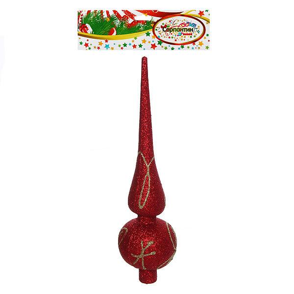 Верхушка на ёлку красная 19см ″Золотой узор″ купить оптом и в розницу