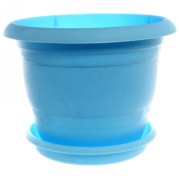 Кашпо для цветовТОПРАК 5л с поддоном голубое *30 (Ангора) купить оптом и в розницу