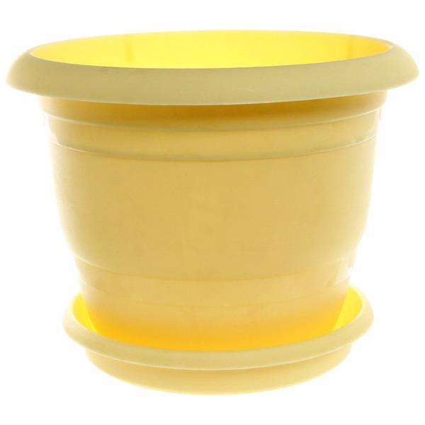 Кашпо для цветовТОПРАК 5л с поддоном желтое *30 (Ангора) купить оптом и в розницу