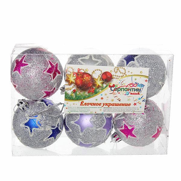 Новогодние шары ″Звезды на серебре″ 6см (набор 6 шт.) купить оптом и в розницу