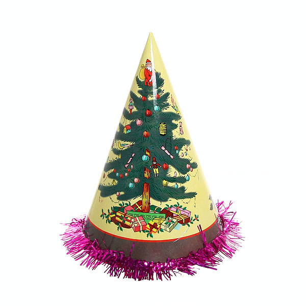 Колпак новогодний ″Новогодний бум″ с мишурой 20см купить оптом и в розницу
