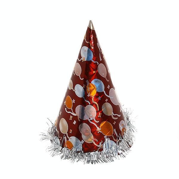 Колпак карнавальный ″Голограмма с рисунком″ с мишурой 24см купить оптом и в розницу