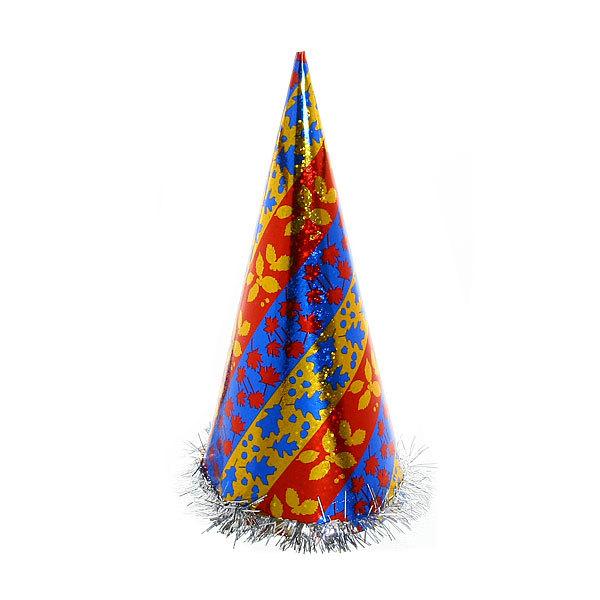 Колпак карнавальный ″Голограмма с рисунком″ с мишурой 34см купить оптом и в розницу