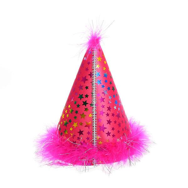 Колпак карнавальный ″Голограмма блеск″ с пухом 20см купить оптом и в розницу