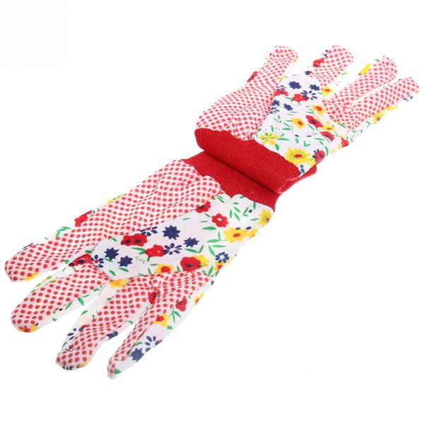 Перчатки садовые с манжетом Луговые цветы 9 х\б купить оптом и в розницу
