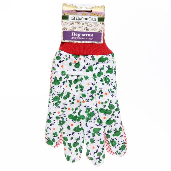 Перчатки садовые с манжетом Яблочки размер 9 х\б купить оптом и в розницу