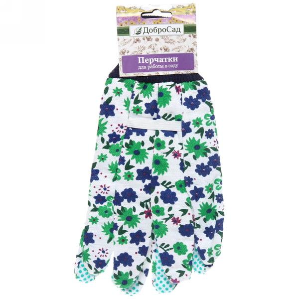 Перчатки садовые с манжетом Полевые цветы 9 х\б купить оптом и в розницу