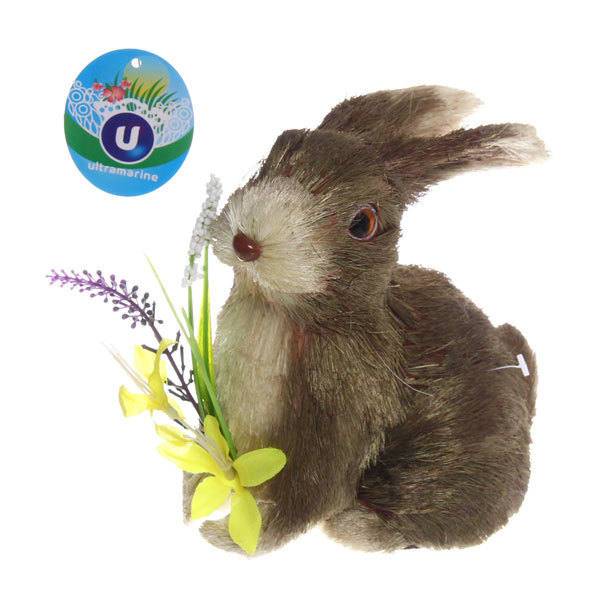 Садовая фигура ″Зайчик с букетом″, солома, 16 см купить оптом и в розницу