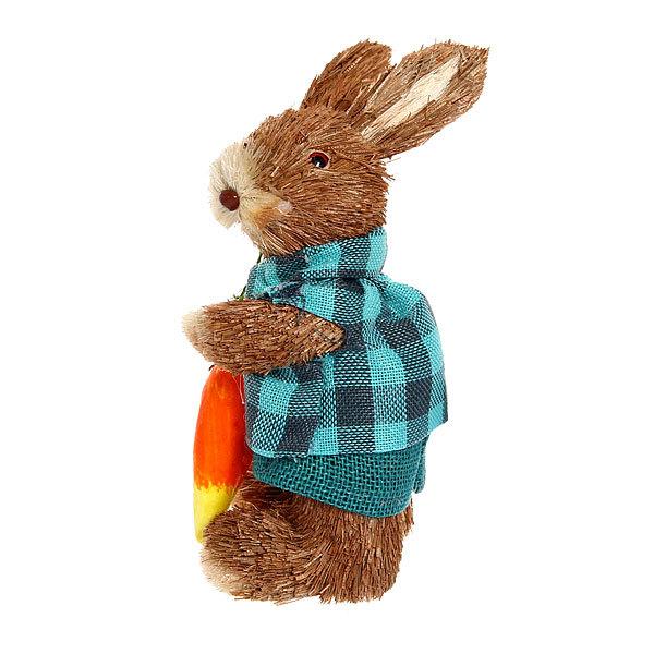 Садовая фигура ″Зайчик с морковкой″, солома, 23 см купить оптом и в розницу
