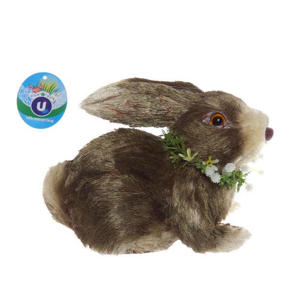 Садовая фигура ″Зайчик с венком″, солома, 20*14 см купить оптом и в розницу