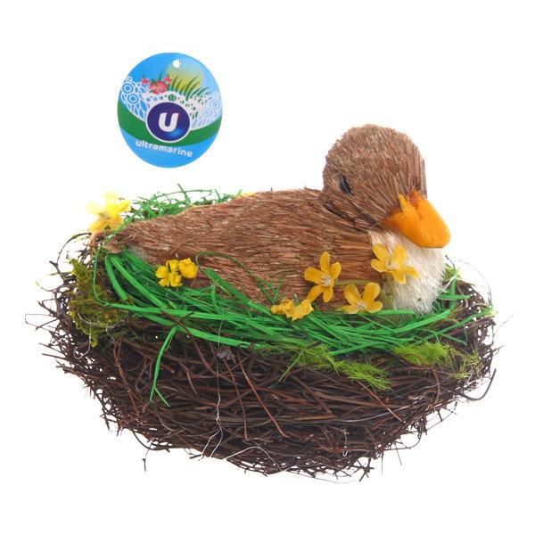 Садовая фигура ″Утка в гнезде″, солома, 17 см купить оптом и в розницу