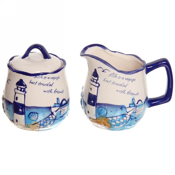 Набор керамический ″Морской прибой″, сахарница и молочник 200 мл купить оптом и в розницу