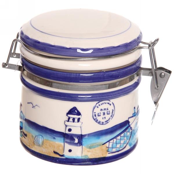 Банка для сыпучих продуктов с зажимом ″ Морской прибой″ 600мл, керамика купить оптом и в розницу