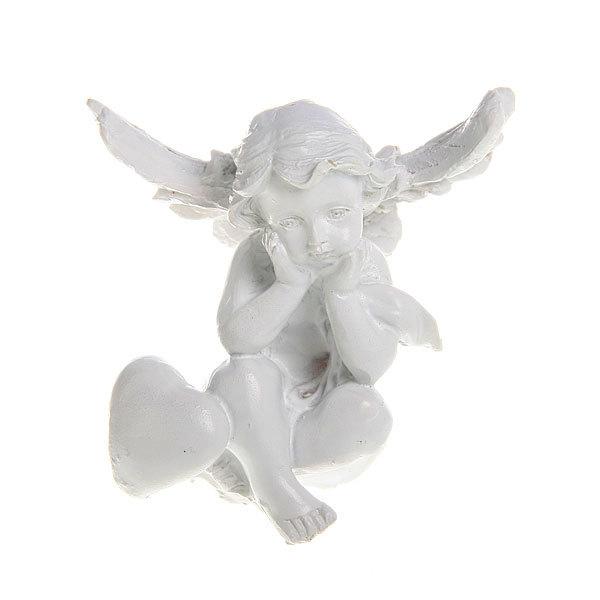 Фигурка из полистоуна ″Белый Ангел″с сердечком 7,5*7 см купить оптом и в розницу