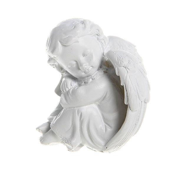 Фигурка из полистоуна ″Белый Ангел″ дремлющий 6*5см (цена за 1шт) L203 купить оптом и в розницу