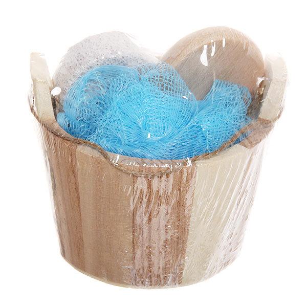 Банный набор в деревянной кадушке ″Банька″ из 3 предметов (зеркало, пемза, мочалка) купить оптом и в розницу