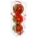 Новогодние шары ″Пайетки на рубине″ 8см (набор 3шт.) купить оптом и в розницу