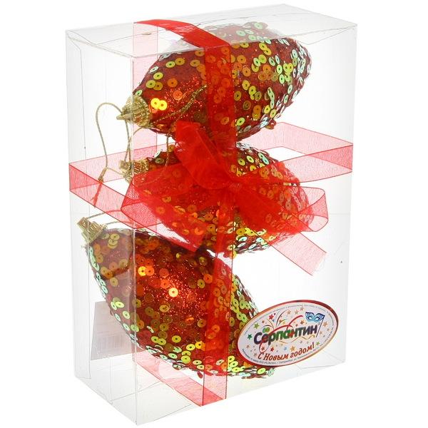 Ёлочные игрушки, набор 3шт, 8см ″Пайетки Рубин″ купить оптом и в розницу